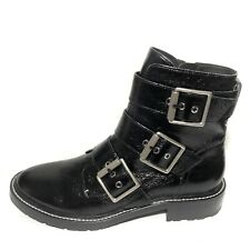 Rag & Bone Womens Cannon Buckle Boots Motorcycle Combat Black Leather Size 11