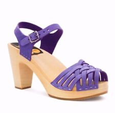 Swedish Hasbeens Sky High Braided Clogs Purple Leather Shoes Sandals 39
