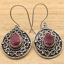 """Silver Plated Over Solid Copper Jewelry ! Red Simulated RUBY Earrings 1 5/8"""""""
