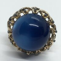 Vintage Fashion Ring Gold Tone Blue Moonglow Lucite Adjustable Size 7