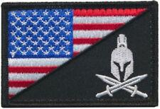 Tactical USA Flag / Spartan Head Molon Labe Military Morale Hook Patch Fullcolor