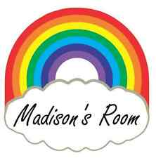 Rainbow and Cloud Personalised Door Name Plaque Boy or Girls Bedroom Room Sign