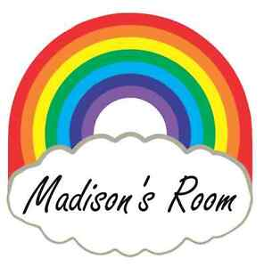 Rainbow and Cloud Personalised Door Name Plaque Boy or Girls Bedroom Room Sign