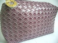 Luxury ESTEE LAUDER Makeup Beauty Cosmetic Travel Bag NEW Purple Leather Look
