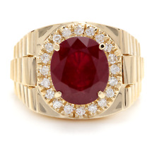10.70Ct Natural Diamond & Ruby 14K Solid Yellow Gold Men's Ring