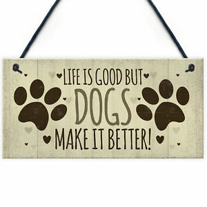Funny Dog Signs For Home Hanging Wall Plaque Sign Xmas Gift For Dog Lovers