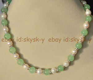 Natural 10mm Light Green Jade & 9-10mm Genuine White Cultured Pearl Necklace AAA