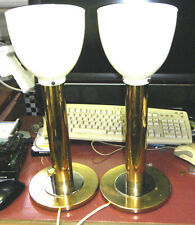 "PAIR ORIG. 1970s BRASS&CHROME NESSEN BRONX USA 18"" TORCH CYLINDER DESK LAMPS"