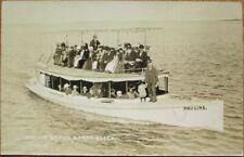 Lake Hopatcong, NJ 1915 Realphoto Postcard: 'Pauline' Boat, Capo's North Beach