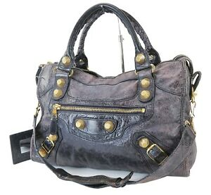 Auth BALENCIAGA Giant City Purple Leather Hand Shoulder Bag Purse #39669