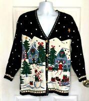 Nutcracker womens ugly Christmas sweater grandpa cardigan black Small