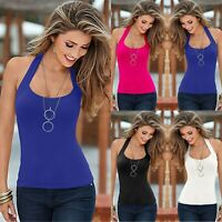 Womens Halter Neck Vest T-Shirt Ladies Summer Tank Solid Sleeveless Tops Blouse