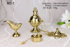 Thurible Brass Hanging Censer Burner with Boat, Church / Home Incense Altar M3-1