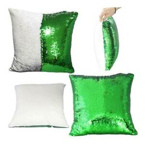 Green Sublimation Blank Reversible Mermaid Pillowcase Sequin Cover Glitter DIY