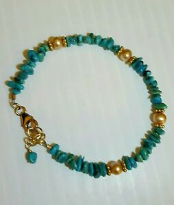 Artisan Bracelet Turquoise Nuggets Pearls 14K Gold Fill Handcrafted USA