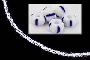 4/0 White with Blue Stripe Czech Seed Bead (20 Gm) #CSU031