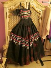The Nat Cantor 1940s Black Formal Gown with color stripe design