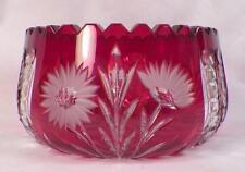 Ruby Stain Bowl Crystal Glass Industries German Democratic Republic Flower Cut