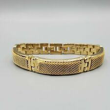 "Panther Link Bracelet 8"" 1970s Gold Tone Mesh Panel"