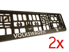 2X Black 3D VW VOLKSWAGEN European Euro License Number Plate Holder Frame German