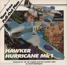 "Model Airplane Plans (RC): Hawker Hurricane Mk I 48"" 1/10 Scale for .25-.40"