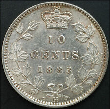 CANADA 1883H 10 CENTS  TEN  C   SILVER   COIN  QUEEN  VICTORIA