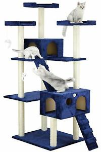 Cat Tree Tower House Hut 72 inch Condo Scratching Post Climbing Blue Play Stand