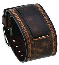 Nemesis IN-BS 24mm Lug Width Wide Brown Leather Cuff Wrist Watch Band