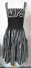 White House Black Market S DRESS Black White Stripes Full Skirt Casual to Dressy