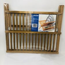 Anchor 2 Tier Wood Collapsible Folding Plate Dish Cup Rack RV Camping Foldable