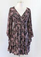 Betsey Johnson Black Paisley Print Bell Sleeve V Neck Dress Size 2 Tie Waist