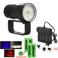 15000LM 18LED Blue Red White Diving Photography Flashlight Scuba Torches Light