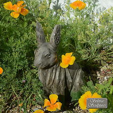 """UNUSUAL """"DRIFTWOOD RABBIT"""" GARDEN ORNAMENT, WEATHERED WOOD with MOSS EFFECT"""