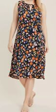 Evans ladies dress midi plus size 14-32 navy orange floral multi tie neckline