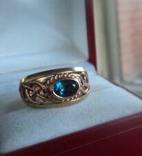 Welsh 9ct Clogau Gold Blue Topaz Celtic Ring  -  size O