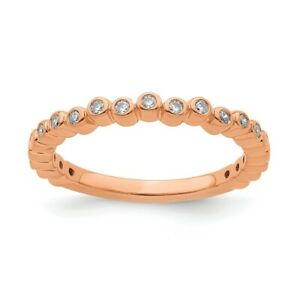 2.5mm 14k Rose Gold 1/10 Ctw Diamond Stackable Band, Size 7