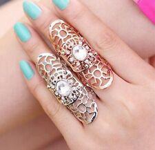 2pcs/lot Women Ring Hollow Flower Rhinestone Full Finger Armor Rings