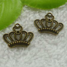 Free Ship 120 pcs bronze plated crown charms 22x18mm #2525