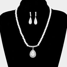 WHITE /SILVER/^PEARL CRYSTAL PROM / BRIDAL STATEMENT NECKLACE & EARRING SETX e2
