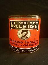 Old Vintage Smoking Tobacco Tin Round Can Sir Walter Raleigh 14 oz Louisville KY