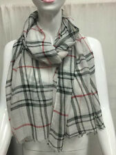 PLAID PATTERN LIGHT WEIGHT ALL SEASON WEAR SCARF WRAP COLOR WHITE