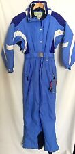 Women's Vintage One Piece Ski Snow Suit Sz 6 8 Blue Color Block Fusion Hood