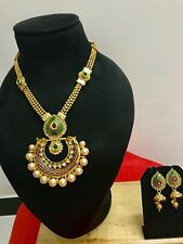 Indian Bollywood Wedding Bridal Fashion Jewelry Pearl Necklace Earrings Set