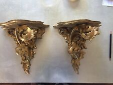 Pair of lovely, antique Italian carved wood, gold gilt wall brackets/sconces.