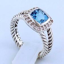 David Yurman Petite Albion Ring With Blue Topaz And Diamonds Size 8