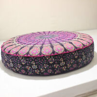 Round Ombre Mandala Pillow Indian Ethnic Meditation Floor Cushion Cover 35""