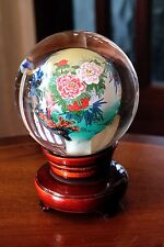 Chinese Inside Hand Painted Crystal Ball  Peacock  on   Rotating  Wood Stand