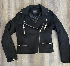 Members Only Womens XS Black Suede Moto Jacket Zippers Heavy Duty