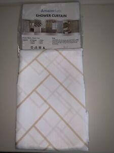 New ~  Fabric Shower Curtain ~ White & Gold Geometric 72 X 72