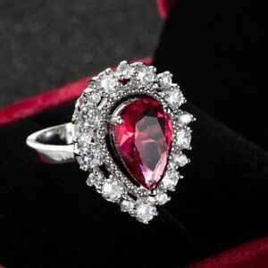 Women's Pear Shape Cz White Gold Filled Engagement Wedding Fashion Ring Sz 6-10